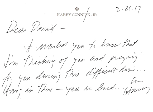 Note from Harry Connick Jr sm